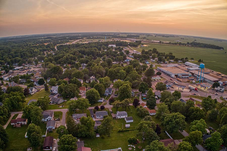 Albion IN - Aerial View Of Small Town Albion Indiana At Sunset